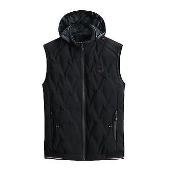 Homemiyn Men's Hooded Plush Velvet Solid Color Warm Vest Waistcoat(L)(Black)