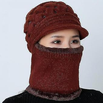Winter Mother Hat Warm Thick Skullies Riding Outdoor Hatsred Wine