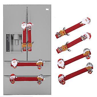 Mimigo Christmas Refrigerator Door Handle Cover, Set Of 4 3d Fleece Cover For Double Door Fridge, Kitchen Microwave Dishwasher Handle Decorations, Red
