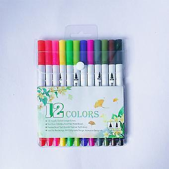 12 väriä akryyli maali merkki kynä pestävä akryyli merkki kynä pehmeä kärki vesiväri kynä Lasten piirustus sarja dual head marker kynä