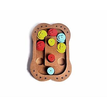 Dogs Intelligence Toys Strategy Game Toy Training Iq Interactive Hide Seek Eat Slow Pet Wooden Puzzle Game For Dogs Cats Bone Shape