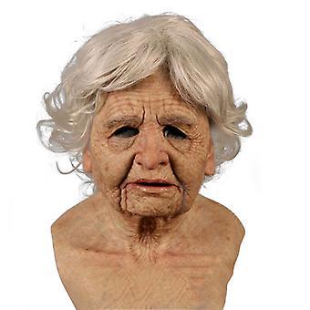 Старая женщина Маска Хэллоуин Жуткая морщина Маска для лица Латекс Косплей Вечеринка Реквизит