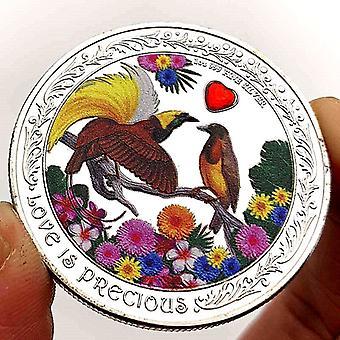 Couleur Love Heart Diamond Duck Bird Rose Argent Plaqué Pièce commémorative Pièce de collection Médaille commémorative