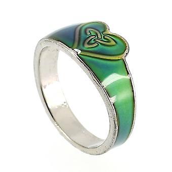 Vetro smaltato celtico Triquetra colore cambia umore anello a forma di cuore