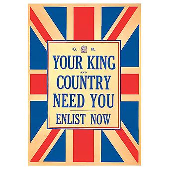 WWI British King & Country Need You Enlist War Poster Print Giclee