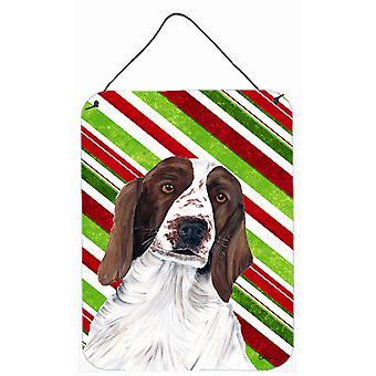طباعة الويلزية سبرينغر الكلب عطلة عيد الميلاد للألمنيوم الجدار أو الباب معلقة