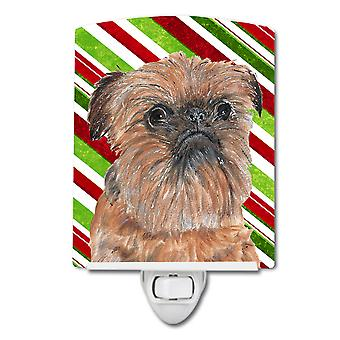 Brussels Griffon Candy Cane Christmas Ceramic Night Light