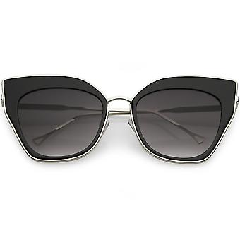 Oversize Pointed Cat Eye Sunglasses Slim Metal Nose Bridge Neutral Square Lens 58mm