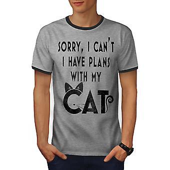 Haben Sie Pläne Männer Heather Grey / Heather dunkles GreyRinger T-shirt | Wellcoda
