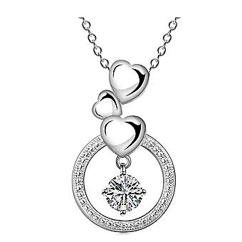 Womens Ladies Silver Plated Hearts Love Pendant Necklace With Circle And Crystal Stone