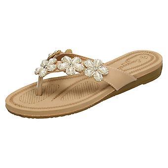 Mesdames Savannah empierré fleur Toepost garniture sandales F00100