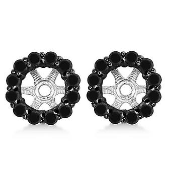 5/8ct Treated Black Diamond Halo Earring Jackets Solid 14K White Gold (up to 6mm)