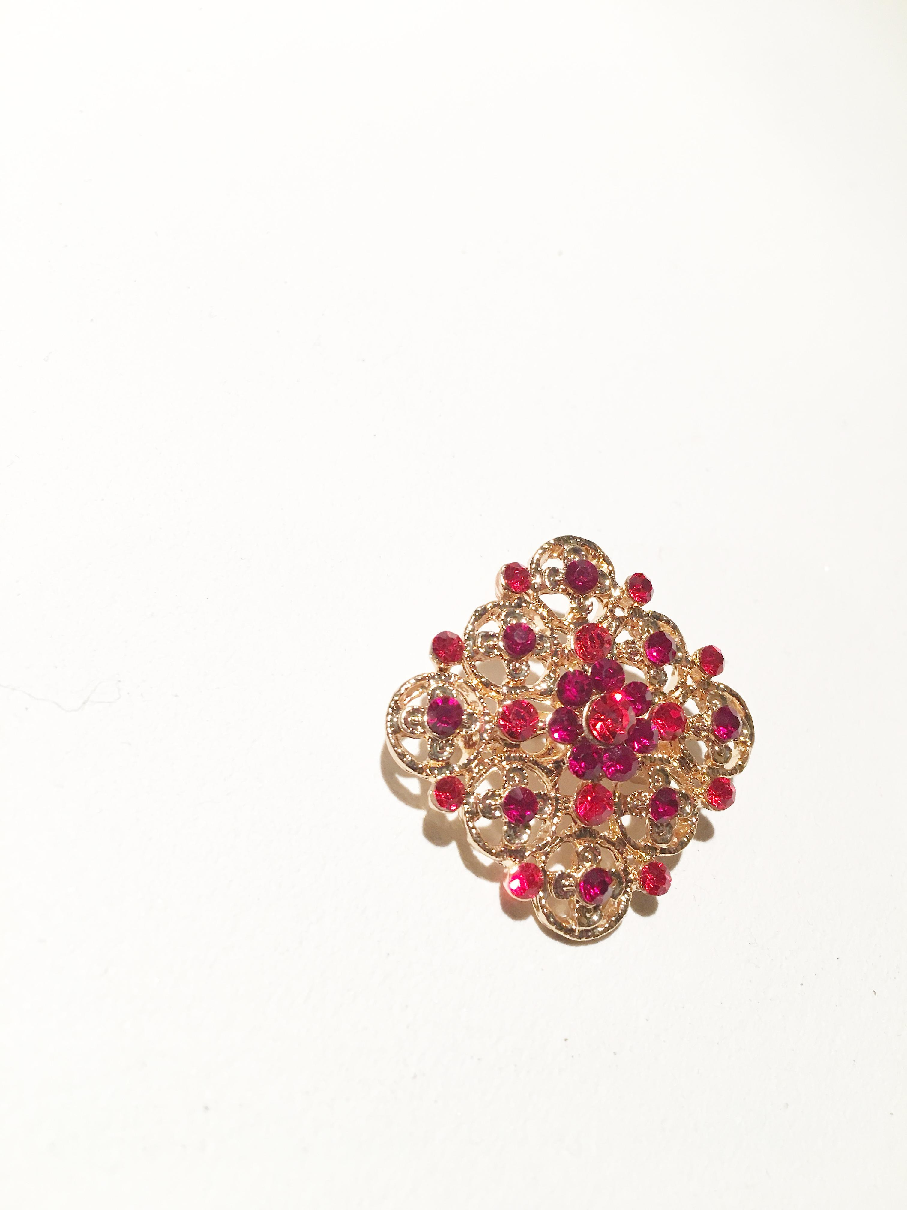 gold and red rectangle brooch