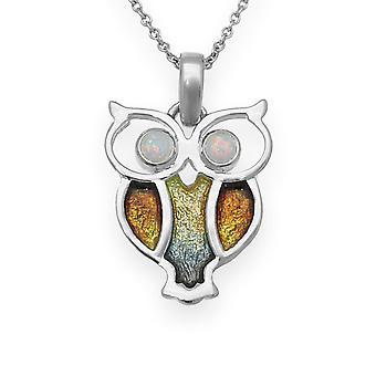 Schottische Natur im Flug Eule Emaille Halskette Anhänger Silber - White Opal Stein - ESP15