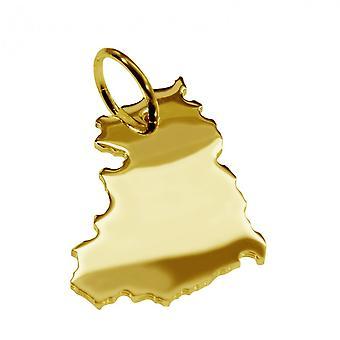 Släpvagn karta hängsmycken i guld gul-guld i form av GDREN