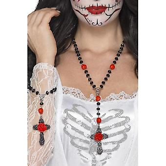 Smiffy's Day Of The Dead Rosary Bead Set, Black