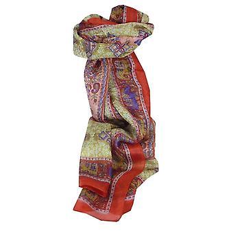 Mora rojo de Rei de seda bufanda larga tradicional por Pashmina y seda