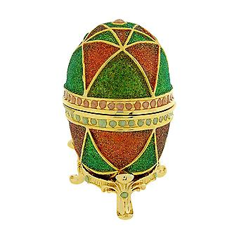 WC Red & Green Faberge-Style Egg Trinket Jewellery Gift Box E6