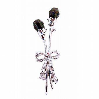 Amethyst lila tschechischer Crystal Teardrop Tulip Blumen Kleid Brosche Pin