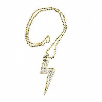 Um raio de ouro pingente Zircon cúbico totalmente incorporado gargantilha cintilante