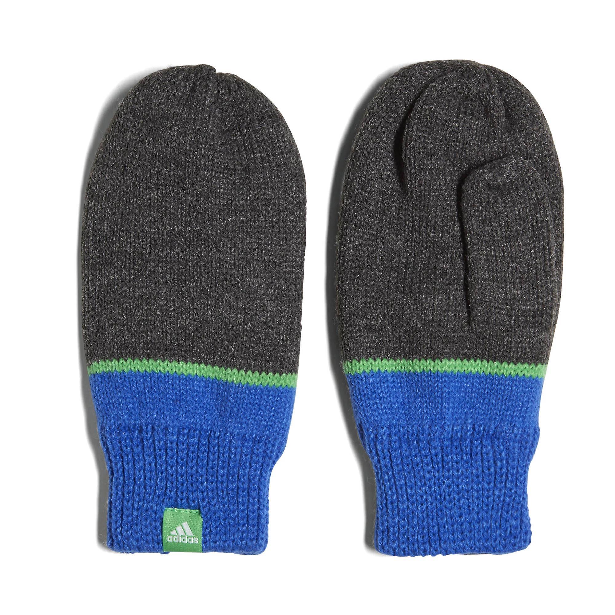 adidas Stripy Little Kids Knitted Winter Mittens Gloves Grey/Blue