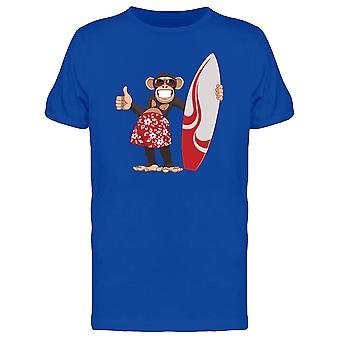 Funny Surfer Chimpanzee Tee Men's -Image by Shutterstock