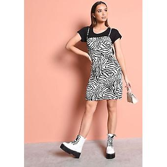 Zebra afdrukken Strappy Backless Mini Bodycon jurk zwart