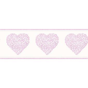 Fine Decor filles crème métallique rose floral amour coeur papier peint moderne bordure
