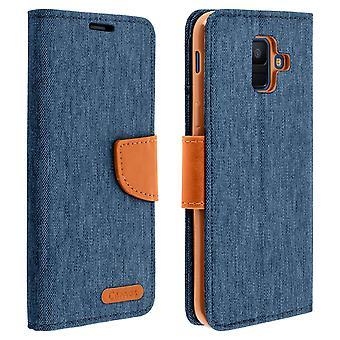 Leinwand Stil Stoff Flip Brieftasche für Samsung Galaxy A6-Dunkelblau