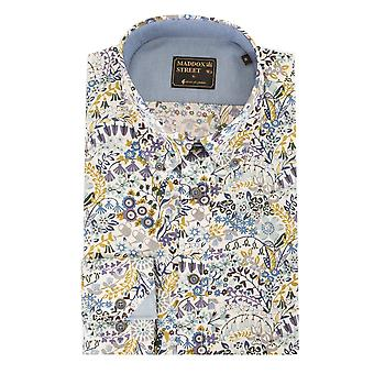 Maddox Street Blue Floral Pattern Long Sleeve Mens Shirt