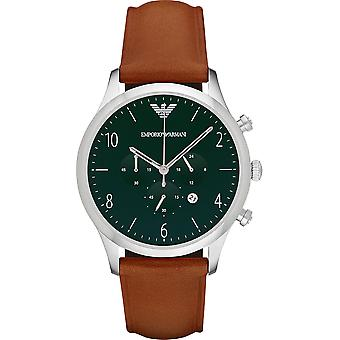 Emporio Armani Ar1941 Green Dial Leather Men's Watch