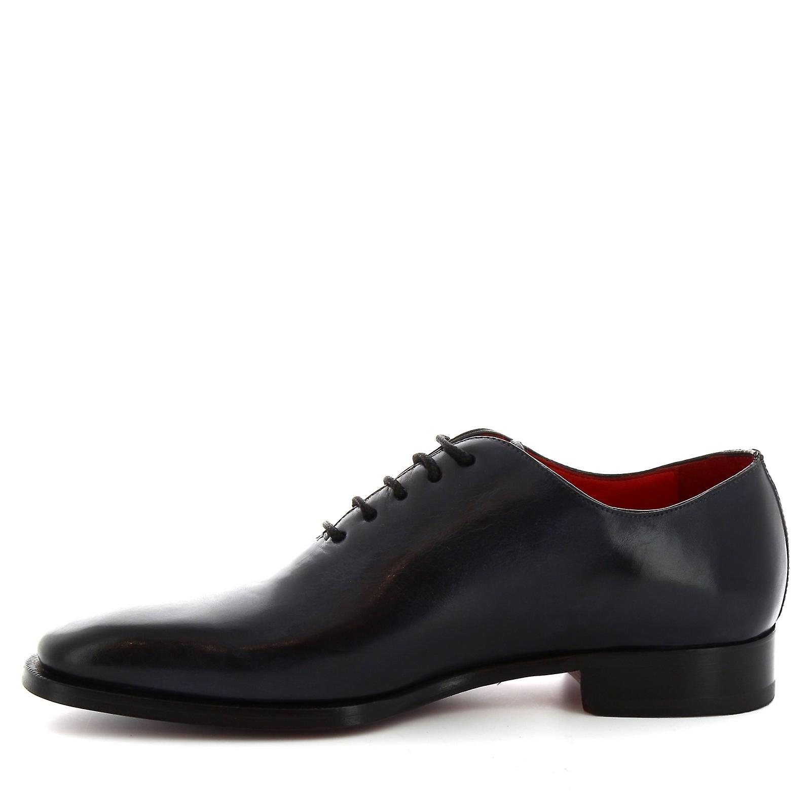 Leonardo Shoes 8728e19vitellodelavéblu Men's Blue Leather Lace-up Shoes L6irKC