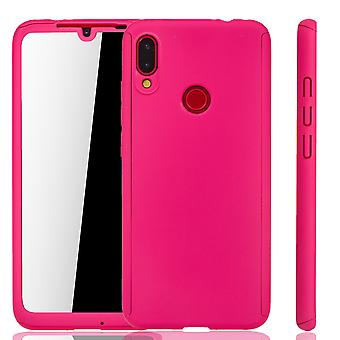 xiaomi redmi huomautus 7 puhelimen kotelo suojakotelo koko kansi säiliön suoja lasi vaaleanpunainen