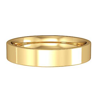 Jewelco London 9ct Yellow Gold - 4mm Essential Flat-Court Band Commitment / Wedding Ring