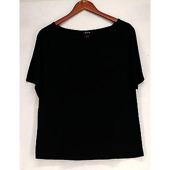 Inman Top Knit T Shirt Short Sleeve Black Womens