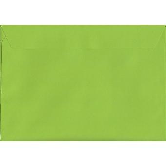 Lime groene schil/Seal C5/A5 gekleurde groene enveloppen. 120gsm luxe FSC gecertificeerd papier. 162 mm x 229 mm. portemonnee stijl envelop.