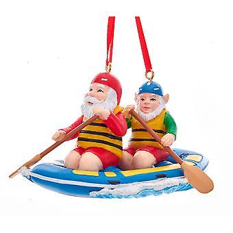 Kurt Adler Santa and His Elf Rowing Water Raft Ornament