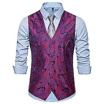 Allthemen Men ' s egysoros virágos bankett V-nyak suit mellény 4 szín