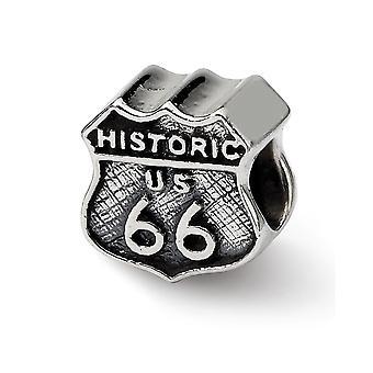 925 Sterling Silver Polished finish Reflections Route 66 Bead Charm Pendant Colar de Jóias Presentes para Mulheres