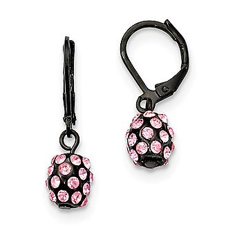 Black Plating Black plated Pink Crystal Fireball Leverback Earrings Jewelry Gifts for Women