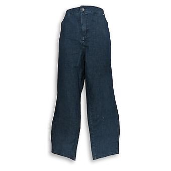 Isaac Mizrahi Live! Kvinner ' s pluss jeans 24/7 denim fly front blå A286107