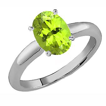 Dazzlingrock Collection 18K 9x7 MM Oval Cut Peridot Ladies Solitaire Bridal Engagement Ring, White Gold