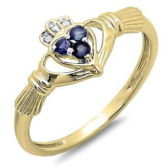 Dazzlingrock Collection 10K White Diamond et Blue Sapphire Bridal Irish Love Claddagh Heart Promise Ring, Or Jaune