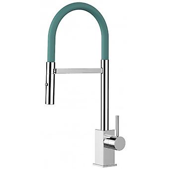 Single-lever Kitchen Sink Mixer With Turquoise Tiffany Spout And 2 Jets Shower - 188