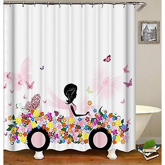Black Figure In A Flowery Car Shower Curtain