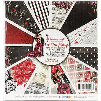 """Dress My Crafts Single-Sided Paper Pad 12""""X12"""" 24/Pkg-For You Always, 12 Designs/2 Each"""