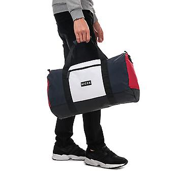Nicce Creek Panel Holdall Bag In Navy Red- One Main Zip Compartment- Zip Pocket