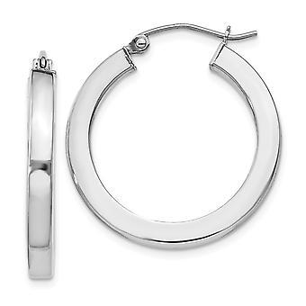 925 Sterling Argent Poli Hinged post Hoop 3.25mm Boucles d'oreilles Bijoux Cadeaux pour les femmes - 2,7 Grammes