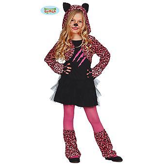 Guirca rosa leopardo vestito costume per gatto Carnevale ragazze