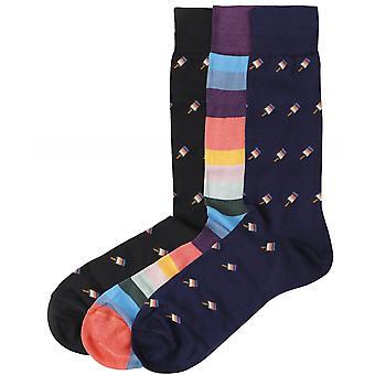 Paul Smith tre pakke med mønstrede sokker